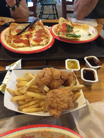 Chicken tenders and fries, Pepperoni Flatbread and a Caprese Flatbread.